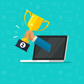 Online award goal achievement vector, flat cartoon laptop computer and success winner golden cup prize, first place victory, competition winner, digital or electronic reward, internet web champion