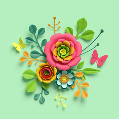 3d render, craft paper flowers, round floral bouquet, botanical arrangement, bright candy colors, nature clip art isolated on mint green background, decorative embellishment
