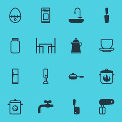 Vector illustration of 16 cooking icons. Editable set of kettle, stove, egg split and other icon elements.