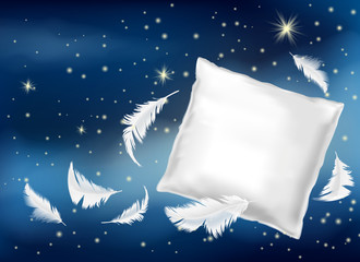 Vector 3d realistic illustration with white pillow and feathers isolated on blue night background. Mock up with soft cushion for comfortable sleep and sweet dreaming