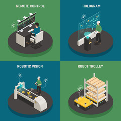 Smart Manufacturing Isometric Icons Concept