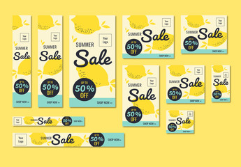 Summer Sale Banner Set with Lemon Illustrations