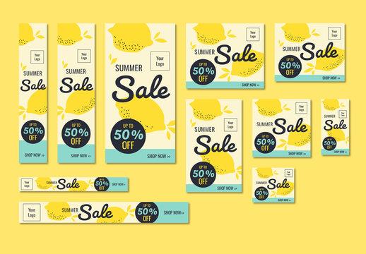Summer Sale Banner Set with Lemon Illustrations