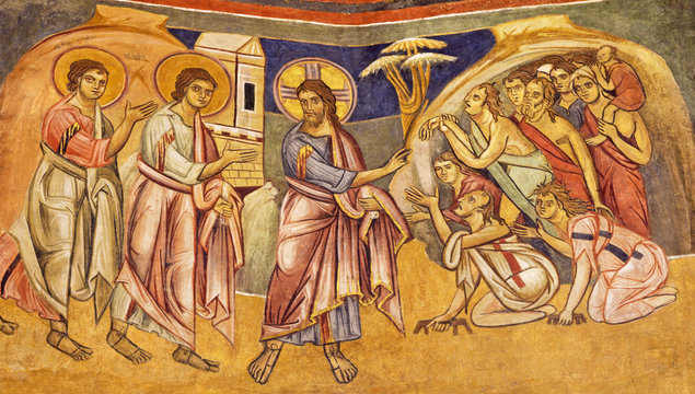 PARMA, ITALY - APRIL 16, 2018: The fresco Jesus healing the ten lepers in byzantine iconic style in Baptistery probably by  Grisopolo from 13. cent.