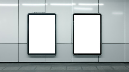 Blank Subway Advertisements Two Copyspace White Isolated Interior Urban Fotomurales