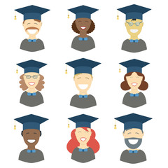Man and woman graduates in gown and hat. Graduation girl and guy faces icon set collection in flat style. Different races students of the world portraits or avatars.