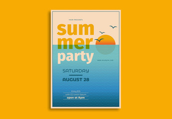 Summer Party Flyer Layout with Sunset Illustration