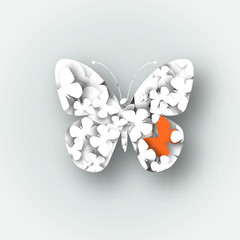 Abstract 3D white paper butterflies. Lonely orange butterfly. Cut-out from paper. Logo design. Vector illustration.