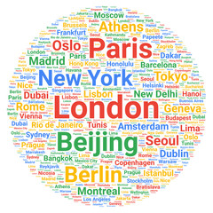 Travel cities destinations word cloud concept