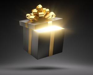 Offene leuchtende Geschenkbox schwarz gold