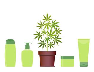 Marijuana or cannabis plant in pot with hemp cosmetic products. Cream, shampoo, liquid soap, body cream. Natural ecological cosmetics. Medical cannabis. CBD oil hemp products. Bottle mock up. Vector.