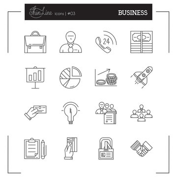 Business, Startup and more thin line icons set, flat design, vector illustration.