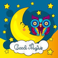 Good night card with moon