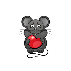 Cartoon cute mouse love heart.