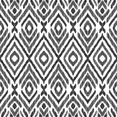 Autocollant pour porte Style Boho Ikat seamless pattern. Surface design for print, fabric, wallpaper, gift wrap, texture. Tribal vector illustration. Black and white background. Boho, ethnic style.