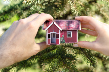 Small house in two hands nature tree green