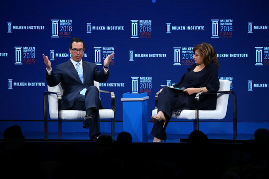 Steven Mnuchin Secretary, U.S. Department of the Treasury is interviewed by Maria Bartiromo Anchor and Global Markets Editor, FOX Business Network at the Milken Institute 21st Global Conference in Beverly Hills, California