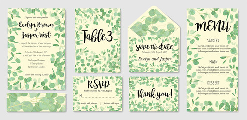 Set of creative botanical vector cards with eucalyptus. Forest invite design for brochure, poster, flyer. Template for Wedding invitation, rsvp, menu, number table.