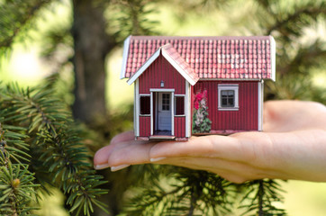 Small house in hand nature tree green