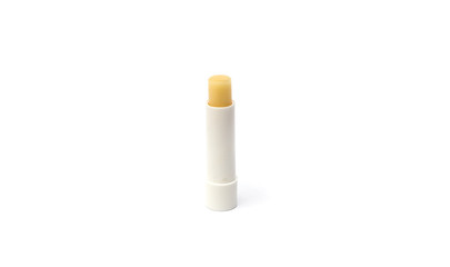 White lipstick in a tube on a white background
