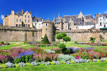 The walls of the ancient town and the gardens in Vannes. Brittany Northern France. Wall mural