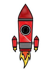 launching rocket space ship cartoon vector illustration