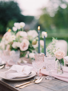 Close-up of wedding table setting