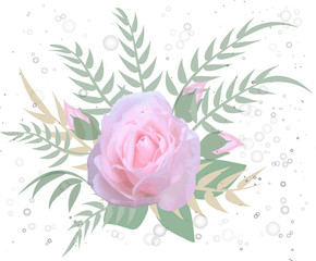vector. Bouquet of roses, romantic card..