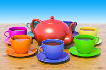 Cups of tea and teapot on the wooden table against blue sky. 3D rendering