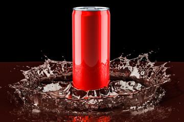 Drink metallic can with splash of beverage, 3D rendering