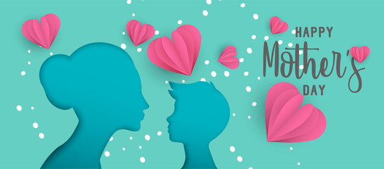 Mothers day paper cut web banner with little child
