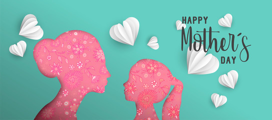 Happy Mothers day paper cut mom and kid web banner