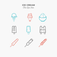 Ice cream, cold desserts, menu objects thin line color icons set, vector illustration