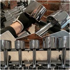Steel Dumbbells In Gym Set