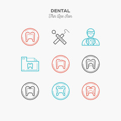 Dentist line colour icons set, vector illustration