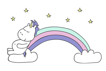 Illustration with cute unicorn on white background. Vector illustration.