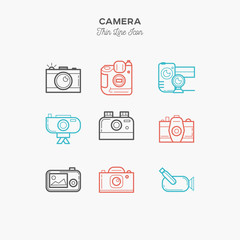 camera, video camera and more, thin line color icons set, vector illustration