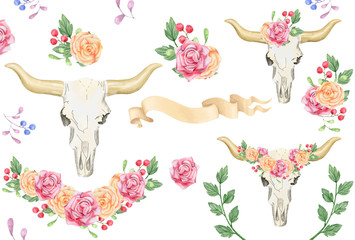 Skull boho watercolor flowers raibbon bounquet character drawing illustration geometric clip art for birthday party print celebration clothing on white background