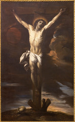 ZARAGOZA, SPAIN - MARCH 1, 2018:  The painting of Crucifixion in church by Giacinto Brandi (1670 - 1675).
