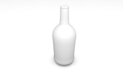 3d white plastic bottle