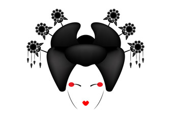 Portrait of Japanese or asian girl, traditional style with Japanese hairstyle, madama butterfly or Geisha Japanese culture, beautiful fashion vector illustration isolated or white background