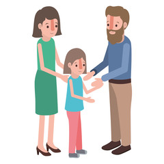 parents couple with daughter isometric characters vector illustration design