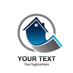 circle Real estate logo template. House logo design vector