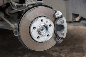 Brake disk and detail of a wheel hub
