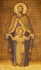 Fototapete - ZARAGOZA, SPAIN - MARCH 1, 2018:  The painting of St. Joseph in church Iglesia del Perpetuo Socorro by pater Jesus Faus (1953 - 1959).