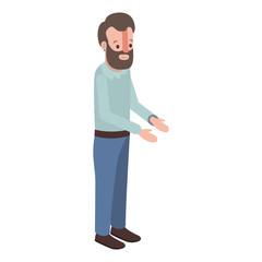 isometric man with beard avatar character vector illustration design
