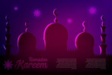 Ramadan Kareem neon sparkle greeting card. Muslim islamic eid mubarak celebration. Holy arabic religiondesign. Vector illustration. Shiny night poster transparent effect.