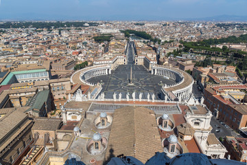 Amazing Panorama to Vatican and city of Rome from dome of St. Peter's Basilica, Italy