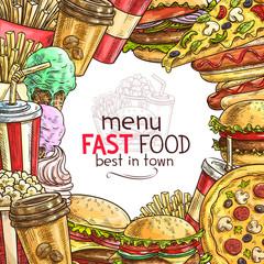 Fast food lunch dish frame for restaurant menu