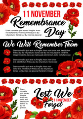 11 November poppy remembrance day vector poster